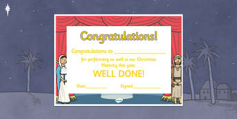 Editable Nativity Certificates - Nativity,  production, show, performance, nativity, editable certificate, tree, xmas, Visual Aids, Mary, Joseph, Jesus, shepherd, wise men, Herod, angel, donkey, stable, Gabriel, First Christmas,Inn, Star, God