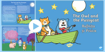 The Owl and the Pussycat PowerPoint English/Romanian - The Owl and the Pussycat PowerPoint - story books, story, books, pp, ppt,Romanian-translation