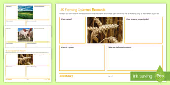 Food and Farming Internet Research Activity Sheet - food, production, task, independent, learning, pork, wheat, maize