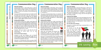 Commemoration Day Differentiated Fact File - Commemoration Day, Martyrs Day, UAE Holidays, UAE Celebrations, UAE