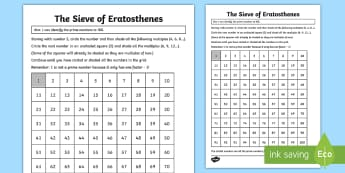 Sieve of Eratosthenes Activity Sheet - KS2, Maths, Year 5, Year 6, Y5, Y6, Prime Numbers, Identify common factors, common multiples and pri