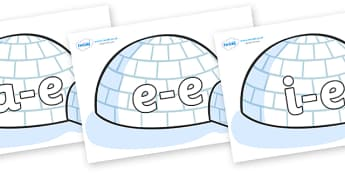 Split Digraphs on Igloos - Modifying E, letters, modify, Phase 5, Phase five, alternative spellings for phonemes, DfES letters and Sounds