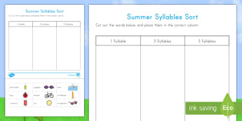 Summer Syllables Sort Activity Sheet - Summer, summer season, first day of summer, summer vacation, summertime,Worksheet,  ELA, phonics, Pr