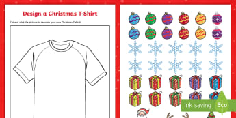 Design Your Own Christmas T-Shirt Activity - cutting skills, christmas, design, decorate, cut and stick, art