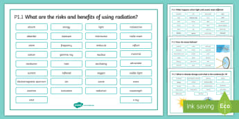 OCR 21st Century Physics P1 Radiation and Waves Word Mat  - Word Mat, gcse, physics, radiation, electromagnetic, spectrum, cancer, climate change, deforestation