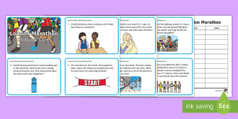 KS1 London Marathon Maths Challenge Cards - Word Problems, Year 1, Year 2, , Mastery, Fluency, Problem Solving, Mixed Calculations, Mixed Operat