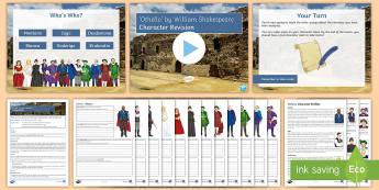 Othello Character Revision Lesson Pack - Othello, Iago, Desdemona, Emilia, Cassio, Bianca, Roderigo, Brabantio, Lodovico, Gratiano, Montano,