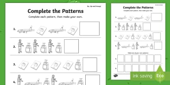 Up, Up and Away! Complete the Patterns Activity Sheet - aistear, exploring my world, story, literacy, oral languages, airport, worksheet, travel, aeroplane,