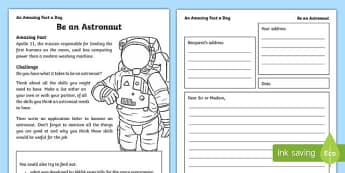 Be an Astronaut Activity Sheet, worksheet
