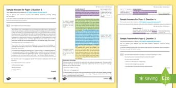 AQA English Language P1 Section A (001) Sample Answers Resource Pack - AQA, Paper One, 1, Section A, reading section, marking, mark scheme, pupil answers, exemplar answers