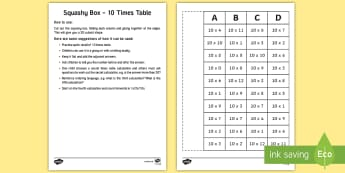 Squashy Boxes 10 Times Tables Craft - ireland, northern ireland, squashy boxes, squashy box, times tables, craft, box, activity, 10x