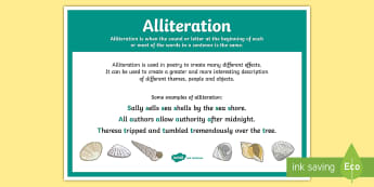 Alliteration Poetry Terms A4 Display Poster - Literacy, Interpreting, analysing, evaluating, english, poetry, writing, poems, poetry, alliteration