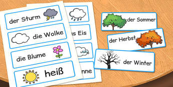 German Season Word Cards - german, season, word cards, cards