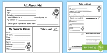 All About Me Activity Sheet Italian/English - All About Me Worksheet - all about me, worksheet, self registration, ourselves, ourselves worksheet,