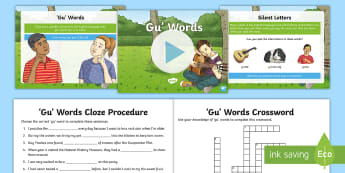 'Gu' Words Activity Pack - silent letters, spelling, spell, y3 spelling, Y4 spelling, LKS2, Improving,