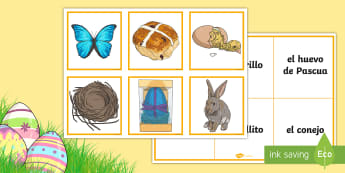 Easter Bingo Matching Game - Spanish - Spring, KS2, Spanish, MFL, easter, bingo, matching, game