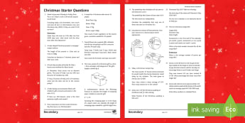 Maths Christmas Starter Quiz Questions - christmas, maths, quick, quiz, starter, questions