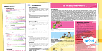 Science: Scientists and Inventors Year 5 CfE Second Level Overview