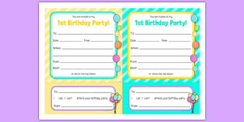 1st Birthday Party Invitations - 1st birthday, 1st birthday party, party, invitations, new parents, one year old, baby