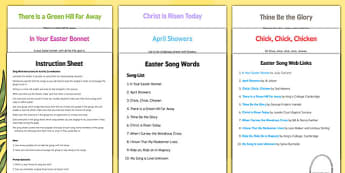 Elderly Care Easter Song Words Instruction Sheet and Web Links - Elderly, Reminiscence, Care Homes, Easter, activity, memory
