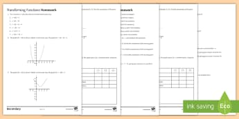 Functions Home Learning Activity Pack - functions, graph, transform, sketch, inverse, composite, axis, manipulation