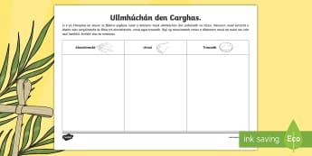 Bileog Gníomhaíochta: Ullmhuchán den Carghas - Lent, Carghas,activity sheet, Almsóireacht, Urnaí, Troscadh, Fasting, Almsgiving Prayer, Irish