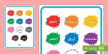 ملصق عرض: أسماء الألوان على البقع الملونة - أسود، أبيض، الأحمر، الأخضر، الأزرق، الأصفر، البرتقال،