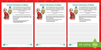 KS2 Santa's Christmas Problem Differentiated Activity Sheets - lks2, uks2, story starter, story opening, writing activity, stimulus, stimuli, xmas, worksheets, spa