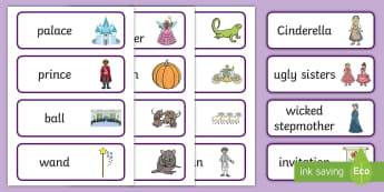 Cinderella Word Cards - Cinderella, word card, flashcards, Traditional tales, tale, fairy tale, Pince Charming, Ugly Sisters, Step Godmother, Dress, Midnight, Carriage, mice, pumpkin