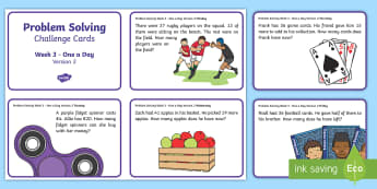 Week 3 - Version 2 - Problem Solving - One a day Challenge Card - Word Problems, Addition, Subtraction, Challenge, Solving, RUDE,Irish