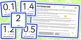 0 2 in Tenths Digit Cards and Activity - place value, KS2, maths