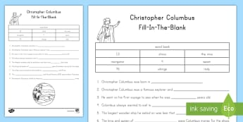 Columbus Fill-in-the-Blank Activity Sheet - Christopher Columbus, columbus, America, Explorers, Columbus Day, worksheet