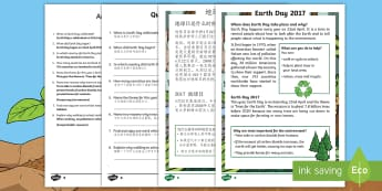 Earth Day Differentiated Reading Comprehension Activity English/Mandarin Chinese - KS1, Earth Day, Environment, Pollution, Trees, Deforestation, Earth, Planet, Animals, Habitat, Carbo