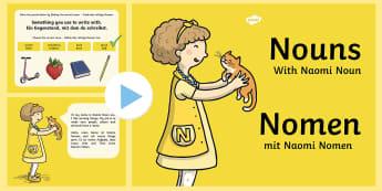 Nouns PowerPoint English/German - EAL, German, Nouns Powerpoint - nouns, powerpoint, words, grammar gang, vocabulary, grammer, nounds,