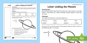 Letter Linking the Planets Activity Sheet - Amazing Fact Of The Day, activity sheets, powerpoint, starter, morning activity, February, planets,