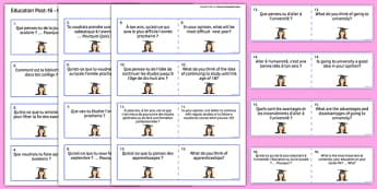 General Conversation Question Double Sided Cards French English Education Post 16 - french, Conversation, Speaking, Questions, Education, Éducation, Studies, Études, College, Lycée, Baccalauréat, A levels, Exams, Examens, University, Université, Appr