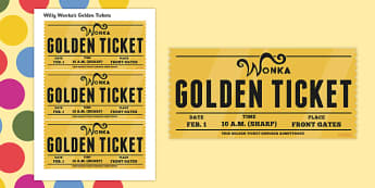 Role Play Golden Tickets to Support Teaching on Willy Wonka's Chocolate Factory - role play golden tickets, willy wonka, story book, chocolate factory role play, golden tickets