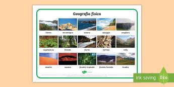 La geografia fisica Vocabolario Illustrato - geografia, mappa, continenti, nazioni, italiano, italian, materiale, scolastico