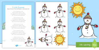 5 Little Snowmen Song Pack - winter, seasons, snowmen, song lyrics, song props, snowmen song and props, winter songs and props