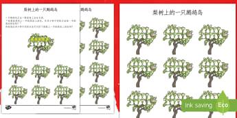 梨树上的鹧鸪鸟数学练习题 - 圣诞节,节日,庆祝,找规律,图片规律