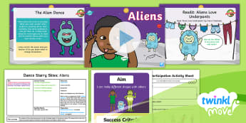 Twinkl Move - Year 1 Dance: Starry Skies Lesson 4 - Aliens - Dance Starry Skies, Alien, Space, Spaceship, PE, Physical Education, Y1, Year 1, Key Stage 1, KS1, M
