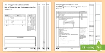 AQA Combined Science (Trilogy) Unit 6.7 Magnetism and Electromagnetism Test - KS4 Assessment, Test, Magnetism, Electromagnetism, Solenoid, Magnet, Fleming's Left Hand Rule, Tran