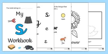 My 's' Workbook (cursive) - workbook, s sound, lowercase, cursive, letters, alphabet, activity, handwriting, writing