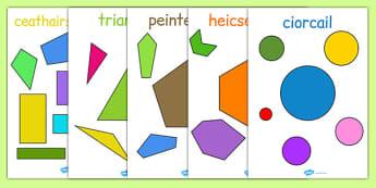 2D Regular and Irregular Shape Posters Gaeilge - gaeilge, 2d, regular, shape, irregular, posters, display