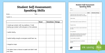 Student Self-Assessment: Speaking Skills Activity Sheet - Assessments and Evaluations, public speaking, communication, languages, worksheet
