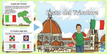 Festa del Tricolore Presentazione Powerpoint - giornata, nazinale, bandiera, celebrazione, italiano, italian, materiale, scolastico