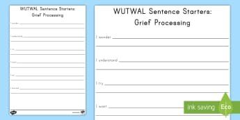 Grief Sentence Starters Activity - grief, trauma, grief activity sheet, grief sentence activity sheet
