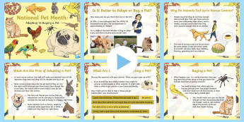 KS2 National Pet Month: Adopting Vs Buying A Pet PowerPoint  - KS2 National Pet Month (April 2017), pet care, PSHE, ks2-topics-organised-events-and-awareness-days-