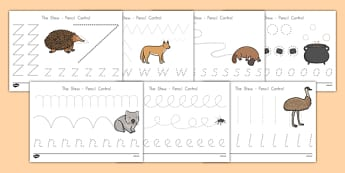 The Stew Pencil Control Sheets - australia, wombat stew, marcia k vaughan, story book, pencil control