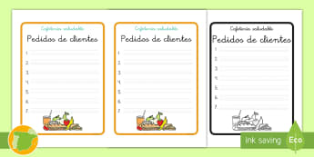 Formulario de pedido para juego de rol: Cafetería saludable - nutrición, comida, juego, roles, juego de rol, café, helados, productos, comprar, vender, primaria